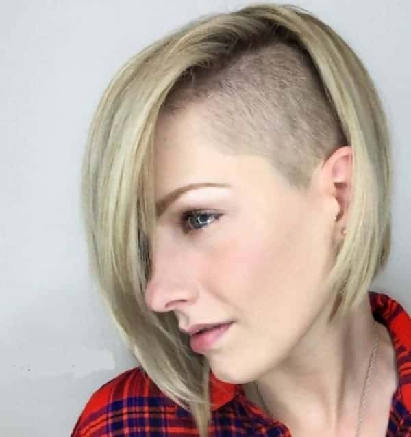 A-Line-Bob-and-Half-Shaved-Head Best A-Line Bobs You Need to Try (Trending for 2020)