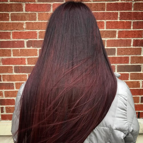 Black-to-Cherry-Red-Ombre Enthralling Long and Straight Hair Ombre for Women