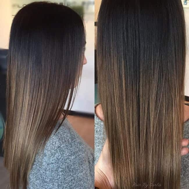 Black-to-Light-Brown Enthralling Long and Straight Hair Ombre for Women