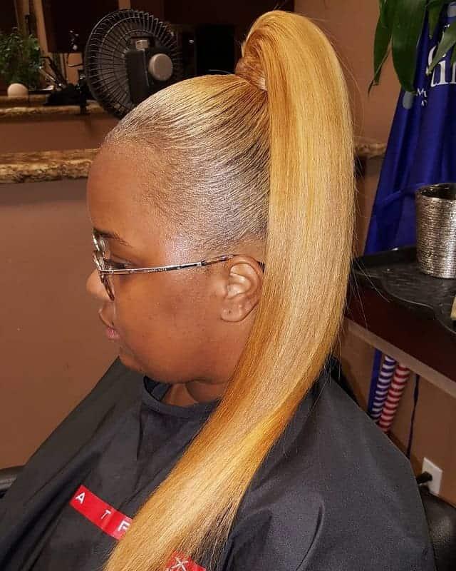 Blonde-Pony Stunning Ponytail Hairstyles for Black Women