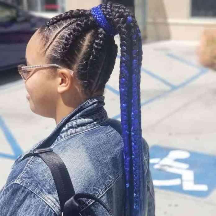 Blue-Stitch-Braids Stunning Ponytail Hairstyles for Black Women