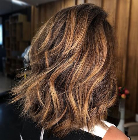 Bold-Feathered-Lob-for-Thick-Hair Gorgeous haircuts for thick hair of medium length in 2020