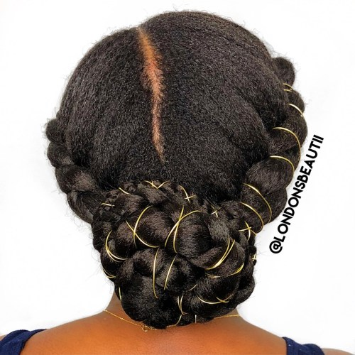 Braided-Chignon-with-String-Wraps 10 Super-Flattering Braided Hairstyles for Curly Hair of Different Types