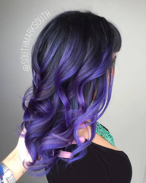 Bright-Curly-Locs 14 Eye-catching Blue Ombre Hairstyles