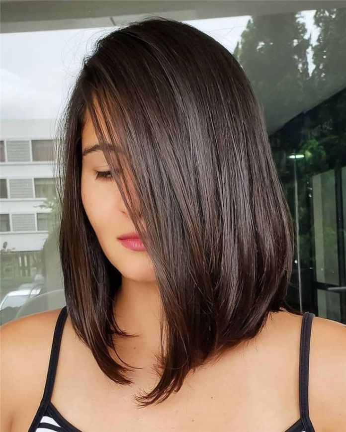 Brown-Angled-Smooth-Bob Cute Medium Length Hairstyles to Glam Up Your Look
