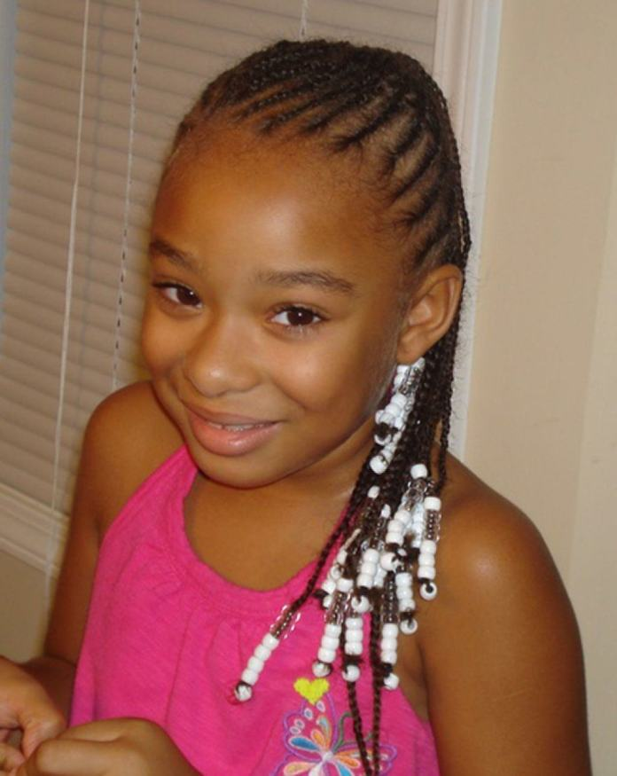 Cornrow-Braids-with-White-Beads Cutest Braided Hairstyles for Little Girls Right Now