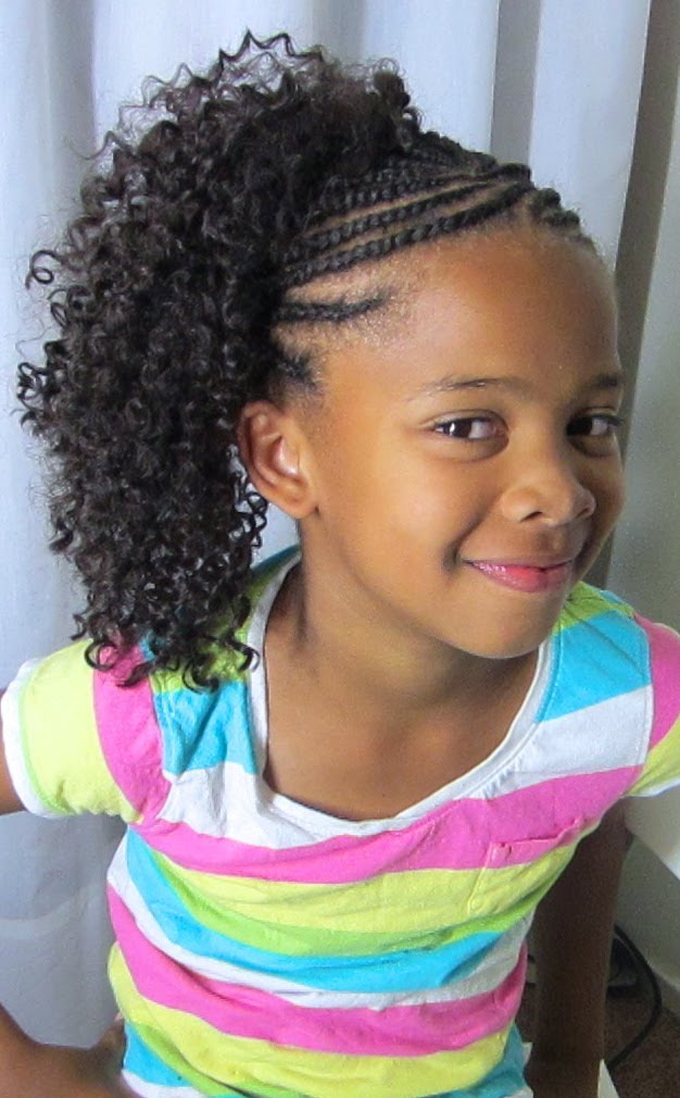 Cornrows-with-Kinky-Curls Cutest Braided Hairstyles for Little Girls Right Now
