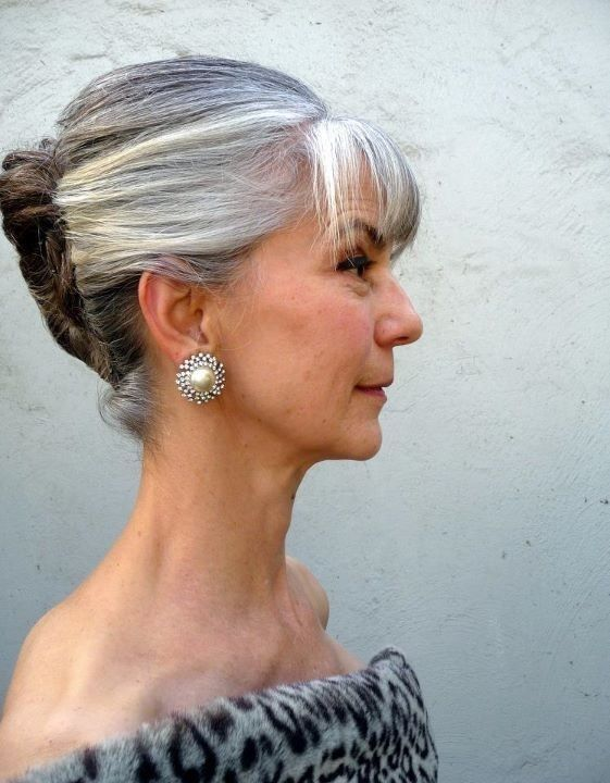 Elegant-Updo-with-Bangs Loveliest Medium Length Hairstyles for Older Women