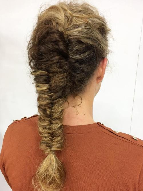 Fishtail-Braid-for-Curly-Hair 10 Super-Flattering Braided Hairstyles for Curly Hair of Different Types