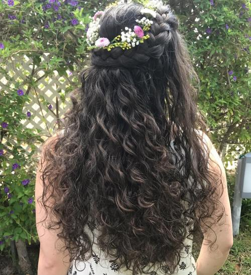 Flower-Girl's-Crown-French-Braids 10 Super-Flattering Braided Hairstyles for Curly Hair of Different Types