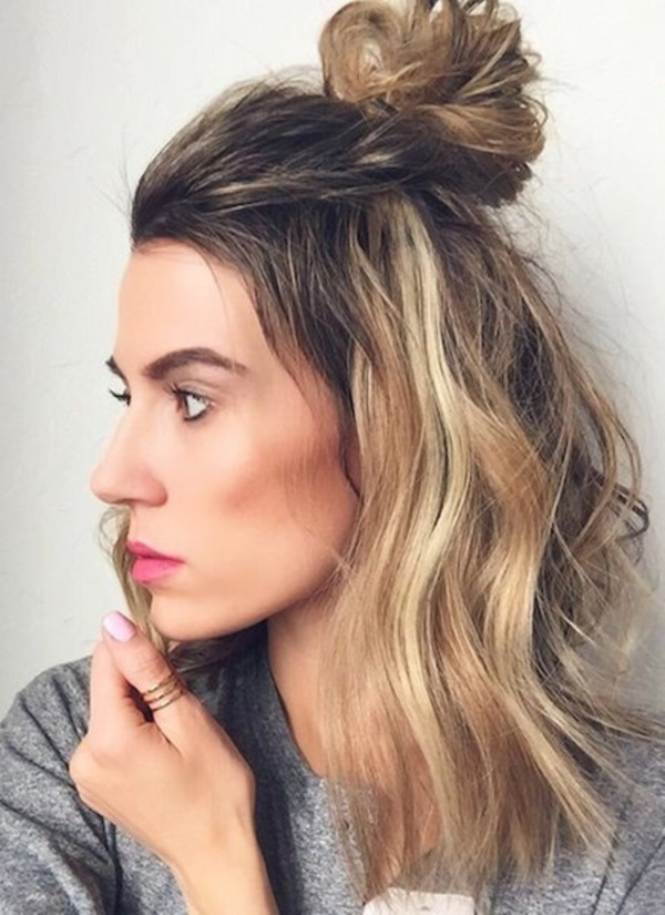 Half-Up-Half-Down-With-a-Top-Knot Cute Medium Length Hairstyles to Glam Up Your Look