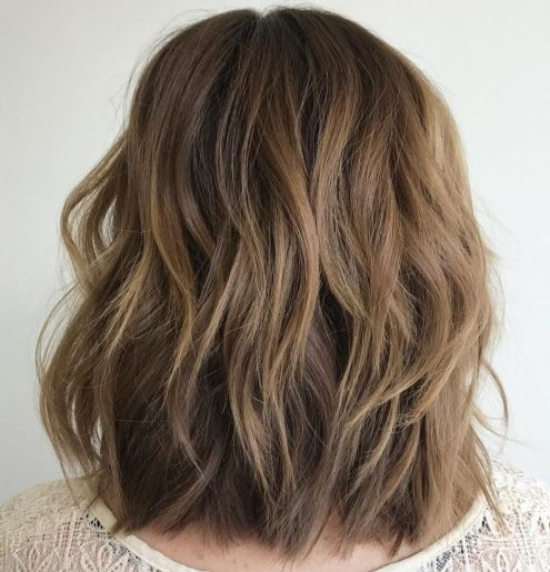 Lob-with-V-Cut-Choppy-Layers-1 14 Sensational Medium Length Haircuts for Thick Hair
