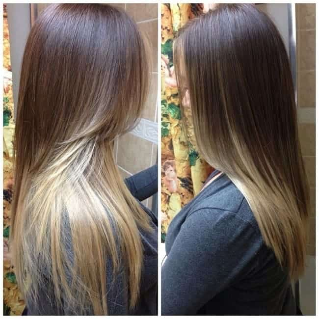 Long-Straight-Brunette-to-Blonde-Ombre Enthralling Long and Straight Hair Ombre for Women