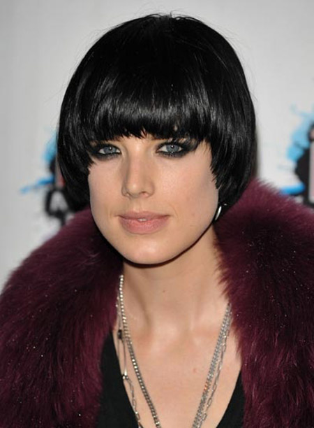 Lovely-Bob-Cut-with-Symmetrical-Bangs Short Hairstyles for Straight Hair