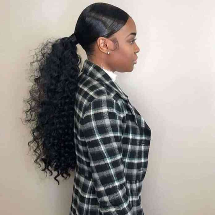 Low-Ponytail-with-More-Fullness Stunning Ponytail Hairstyles for Black Women