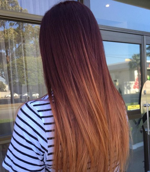 Mahogany-to-Copper-ombre Enthralling Long and Straight Hair Ombre for Women