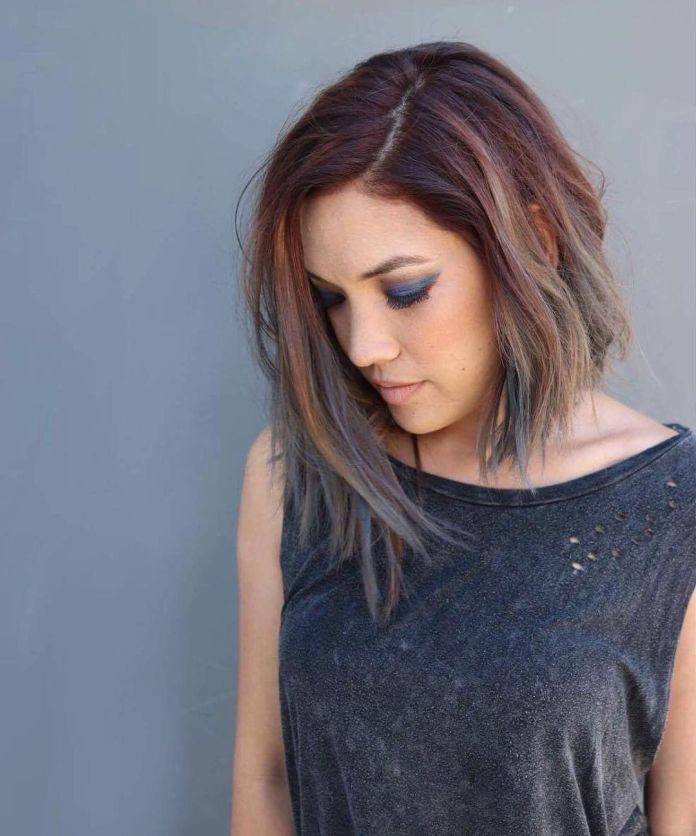 Multi-Colored-Balayage-Bob Cute Medium Length Hairstyles to Glam Up Your Look