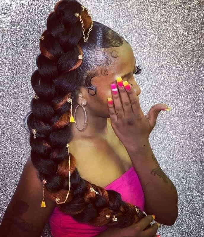 Ponytail-Braid-with-Waeve Stunning Ponytail Hairstyles for Black Women
