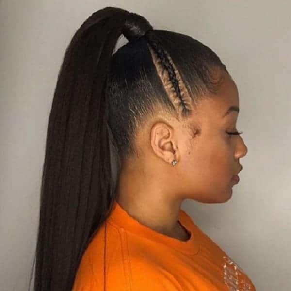 Ponytail-Side-Braid Stunning Ponytail Hairstyles for Black Women