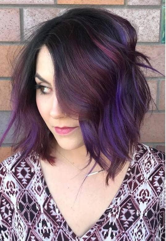 Purple-Balayage-1 Amazing Medium Length Bob Hairstyles to Explore