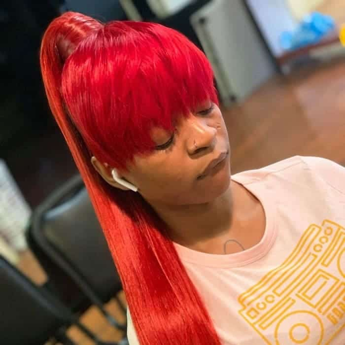 Red-Ponytail-with-Bangs Stunning Ponytail Hairstyles for Black Women