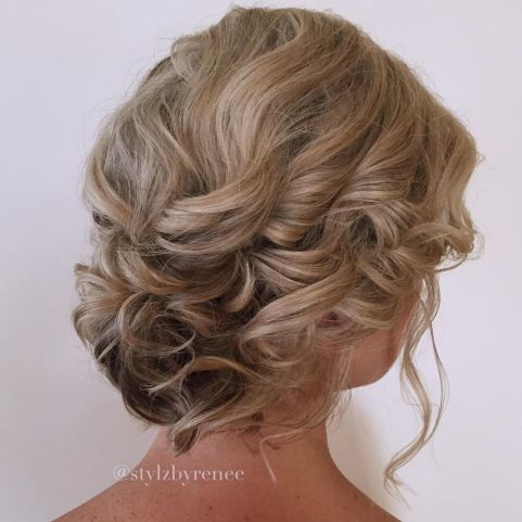 Romantic-Loose-Curly-Updo 15 Super Chic Updo Ideas for Short Hair