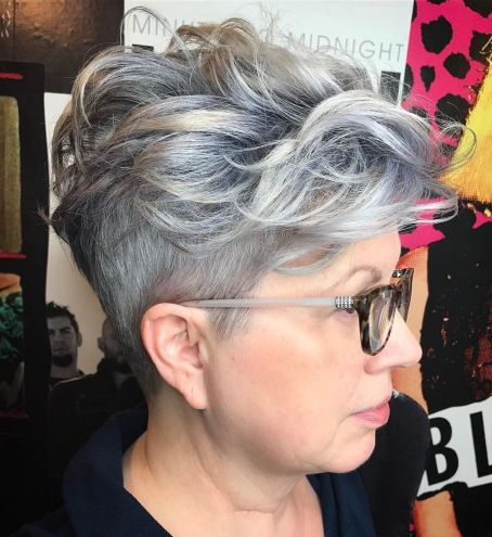 Sassy-Pixie-with-Trimmed-Sides-and-Long-Top 10 Flattering and Stylish Hairstyles for Women over 50 with Glasses