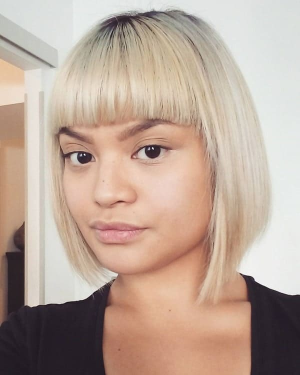 Short-Bangs Flawless Blonde Bob with Bangs Hairstyles to Try 2020
