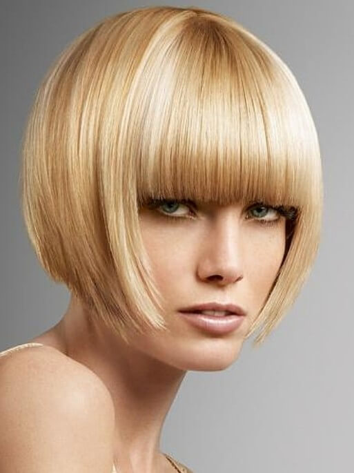 Short-blond-bob-with-blunt-bangs Captivating Inverted Bob Hairstyles That Can Keep You Out of Trouble