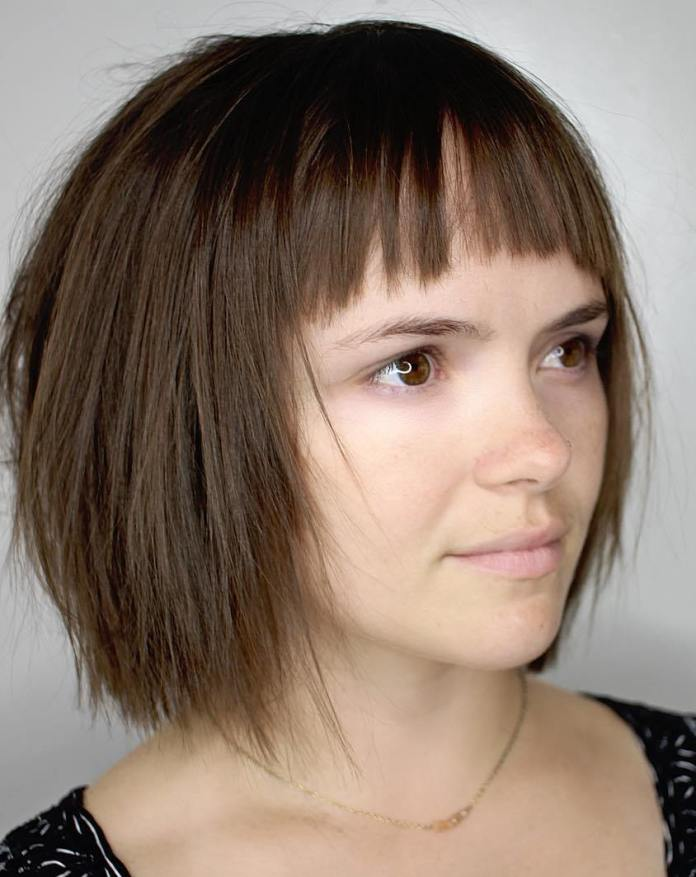 Short-bob-with-choppy-bangs 12 Fabulous Women's Haircuts For Thin Hair
