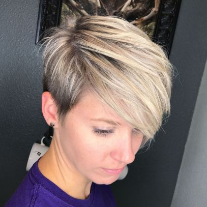 Side-Parted-Blonde-Balayage-Pixie 12 Trendy Pixie haircut ideas for your next cut