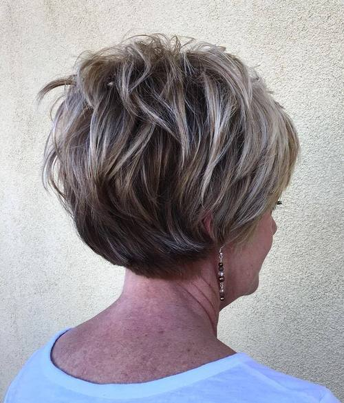 Stacked-Ash-Layers Hairstyles for Women Over 60