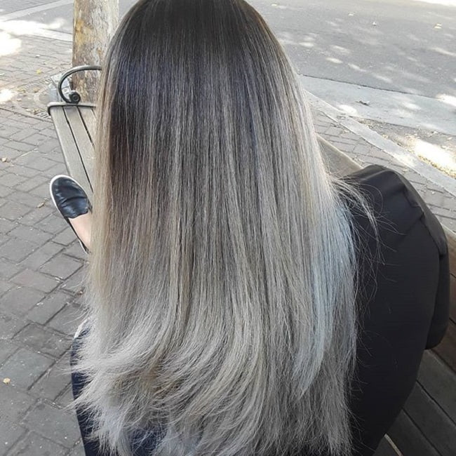 Straight-Dark-to-Gray-Ombre Enthralling Long and Straight Hair Ombre for Women