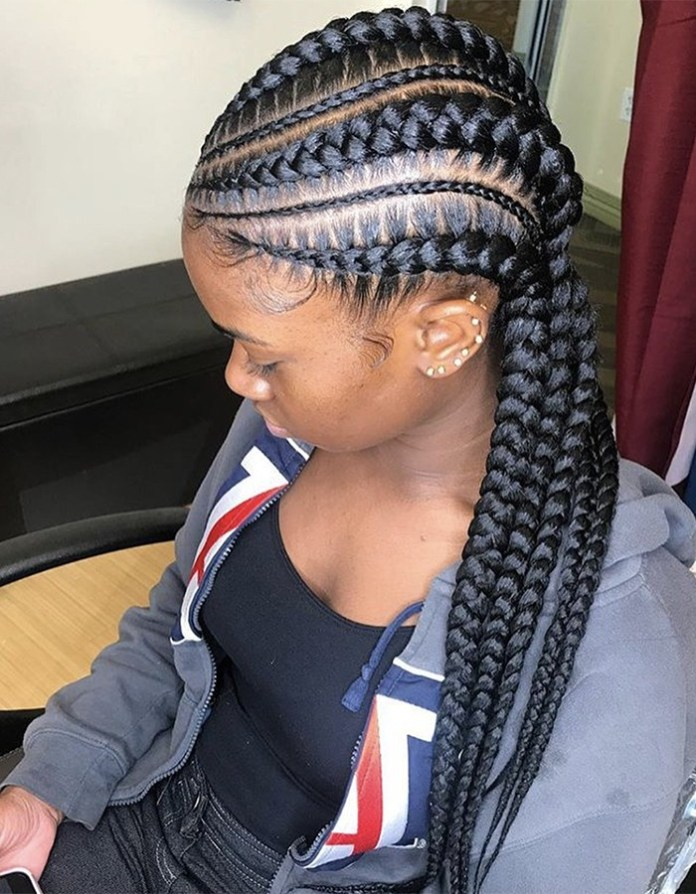 Thick-and-Thin-Mixed-Dutch-Braids Most Coolest and Fabulous Feed in Braids