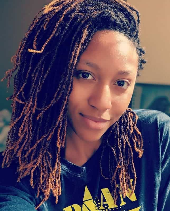 Thin-Dreads Gorgeous Black Hairstyles with Highlights