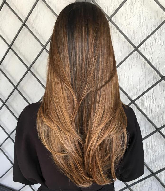 V-Cut-Layers Dazzling Straight Hairstyles for a Diva Look