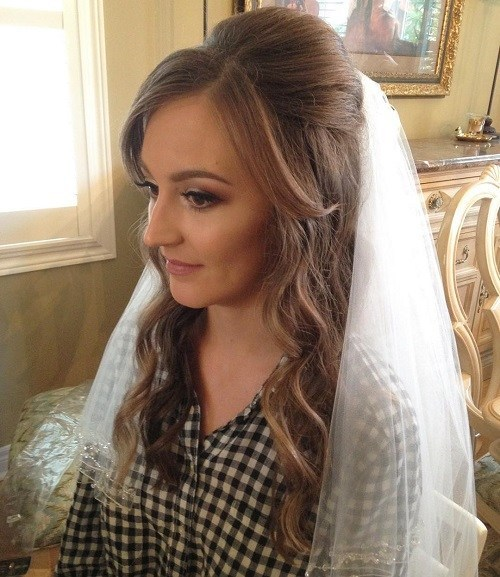 Veiled-Bump-with-Waves 15 Stylish Half Up Half Down Wedding Hairstyles for Brides