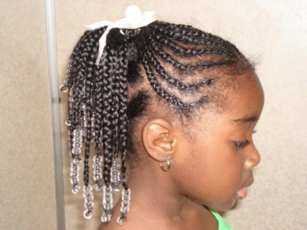 White-Bow Cutest Braided Hairstyles for Little Girls Right Now