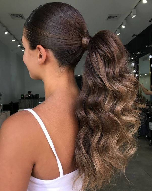 Wrap-Ponytail- Bewitching Brunette Ombre Hair Ideas (2020 Guide)