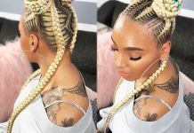 Blonde-Bun-Hairdo-with-Colorful-Highlights Home
