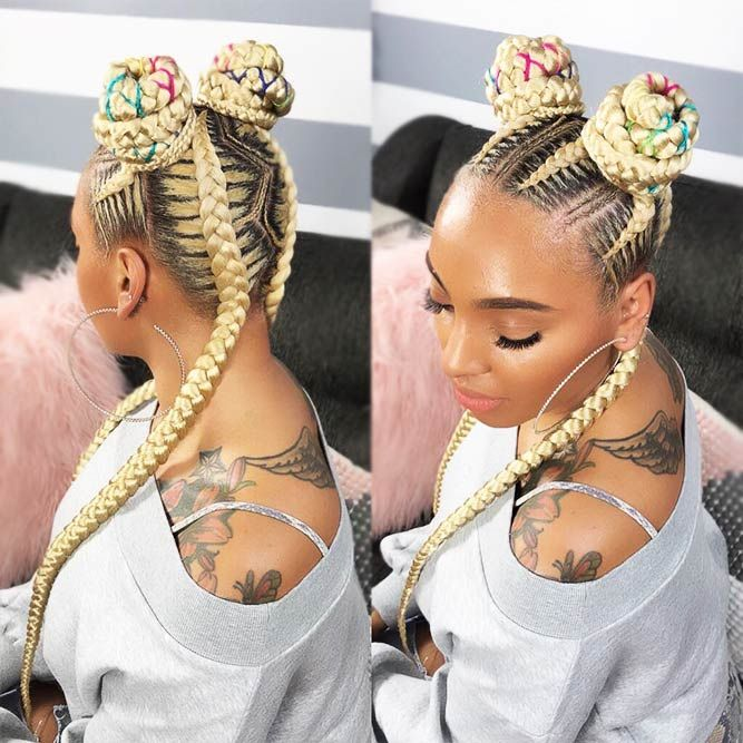 Blonde-Bun-Hairdo-with-Colorful-Highlights Braids Hairstyles 2020 for Ultra Stylish Looks