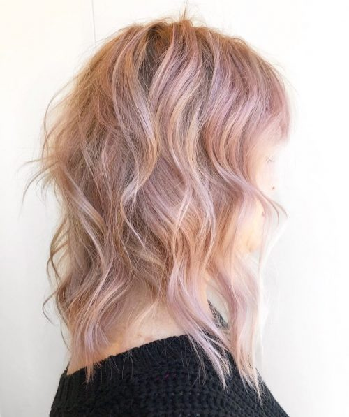 Blonde-rose-gold-Balayage Best rose gold hair color ideas