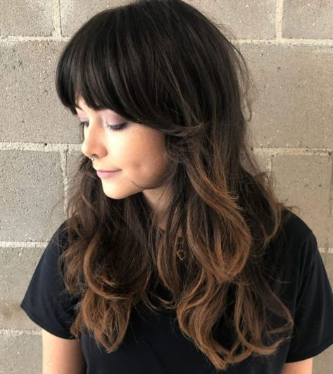 Brunette-Shag-with-Swoopy-Bangs 12 Flattering Haircuts for Long Hair with Bangs
