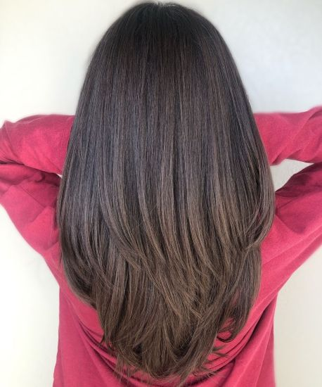 Brunette-V-Cut-for-Thick-Straight-Hair 15 Trendy Long Haircuts For Women In 2020