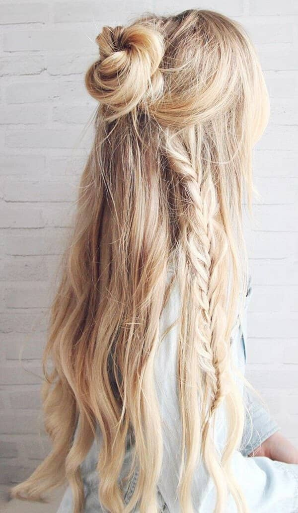 Bun-Braided-Hair Long Braided Hairstyles to Look Beautiful as Never Before