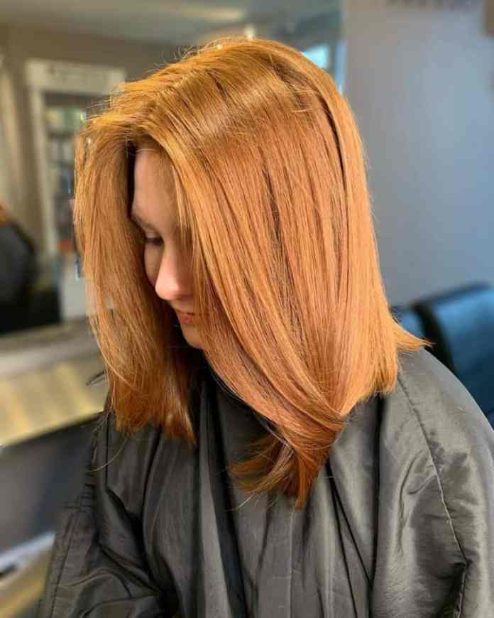 Cinnamon-Gold-Color-Blunt-Hairstyle Most Coolest Medium Hairstyles with Color
