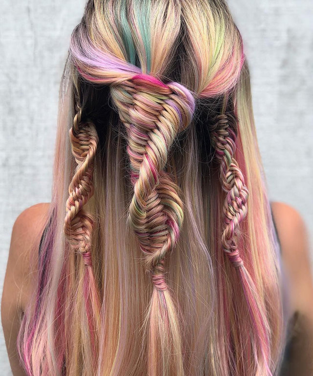 Colorful-Rainbow-Braided-Hair Long Braided Hairstyles to Look Beautiful as Never Before