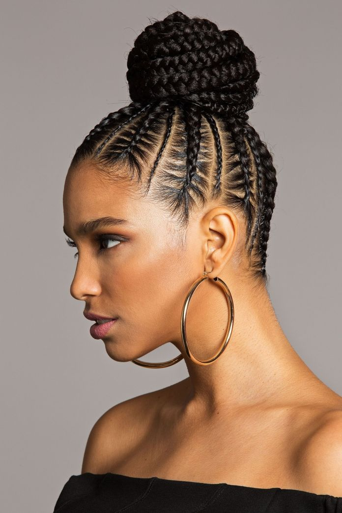 Cornrow-Braids-with-High-Twisted-Bun Natural Hair Braids to Enhance Your Beauty