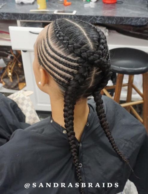 Criss-Crossed-Braids-with-Feed-in-Cornrows 12 Stunning Black Braided Hairstyles 2020