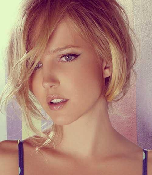 Cute-Short-Blonde-Haircut-with-Long-Bangs 20 Asymmetrical Bob with Bangs 2020